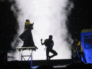 Lady Gaga is lifted from under the stage after a major costume change at the New Orleans Arena April 9, 2011.