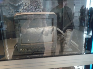 Hurricane Katrina damaged TV monitor and cell phone from New Orleans NBC affiliate WDSU.