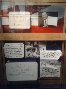 A replica of the late Time Russert's Meet the Press office wall.