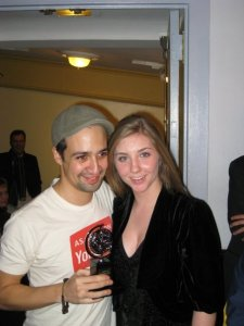 Lin Manuel Miranda poses with his 2008 Best Musical Tony Award in the lobby of the Richard Rodgers Theatre with Amamnda LaBrot in November 2008.