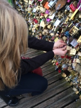 Locking my Mizzou Alpha Chi lock on the love lock bridge.